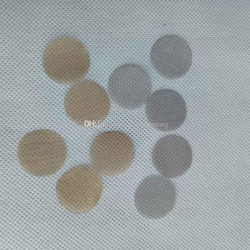 Schermo in ottone Accessori fumo Attrezzatura Schermi in acciaio inox Argento Colore dorato 20mm tubo di sigaretta a mano in metallo tabacco