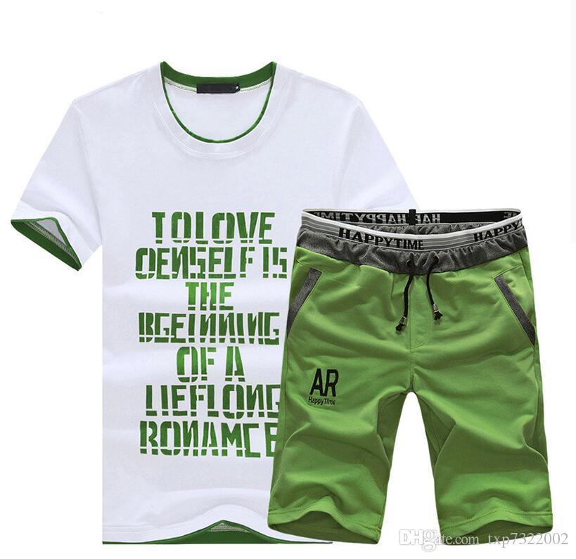 Été Hommes Ensemble Costume Sportif À Manches Courtes T-Shirt + Shorts Séchage Rapide 2 Pièces Ensemble Sweatsuit Casual Hommes Survêtement