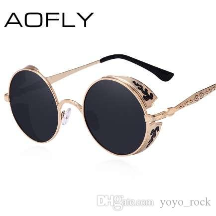 e8b5a97efb AOFLY Steampunk Vintage Sunglass Fashion Round Sunglasses Women Brand  Designer Metal Carving Sun Glasses Men Oculos De Sol S1635 Discount  Sunglasses Sports ...