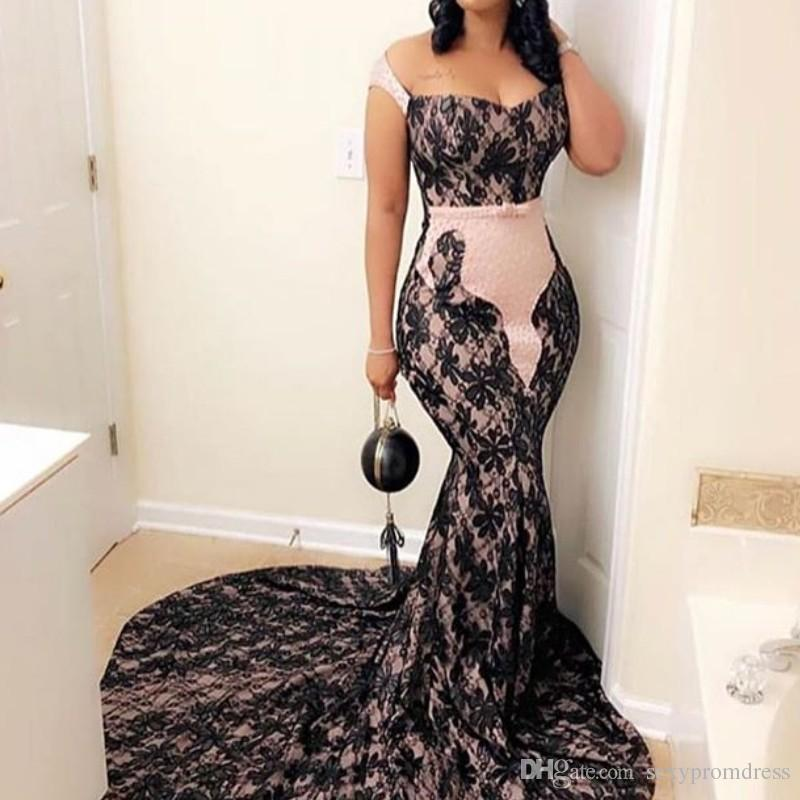 Pink And Black Lace Prom Dresses 2019 Plus Size Mermaid Evening