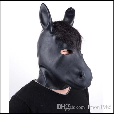 Top Grade Latex Fetish Mask Rubber Hood Mask-Open Mouth and Pinhole Eyes Adults Sexy Party Cosplay Mask adults Horse Mask toys