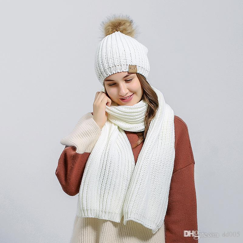 fea24356ca5 Women Hats Scarves Sets With Big Hair Balls Wool Knitted Beanie ...