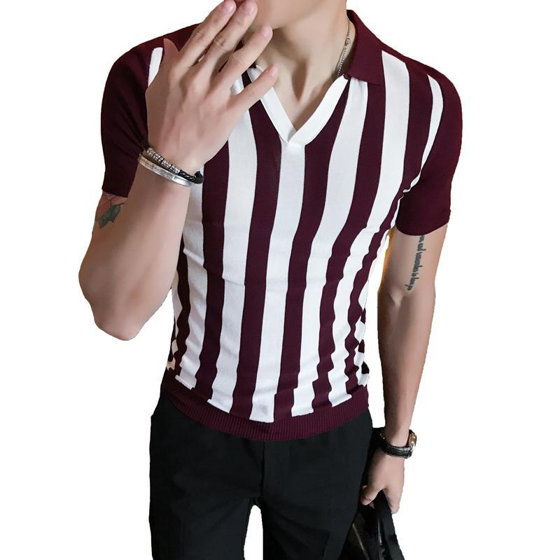 de5cbb479f 2019 Knitted Shirt Men 2018 Summer Pattern Stripe Shirt Men Red Black Gray  Vertical Stripe Slim Fit Elegant From Rebecco, $43.73 | DHgate.Com