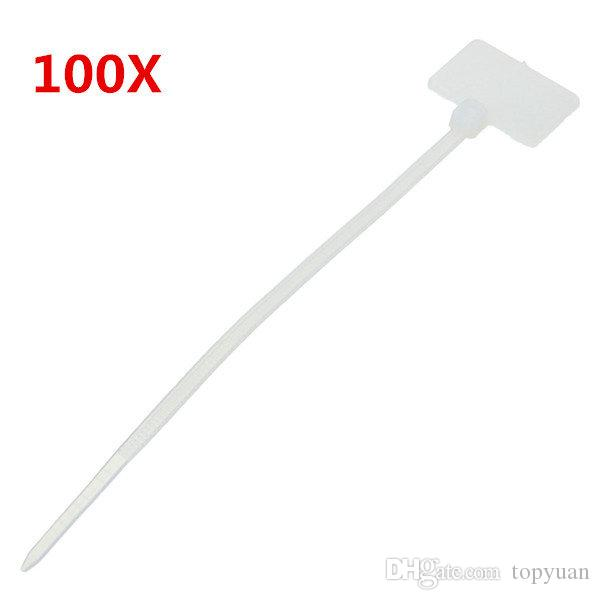 White Nylon Zip Cable Tie Label Strap Strip With Marking Tag 3X100mm