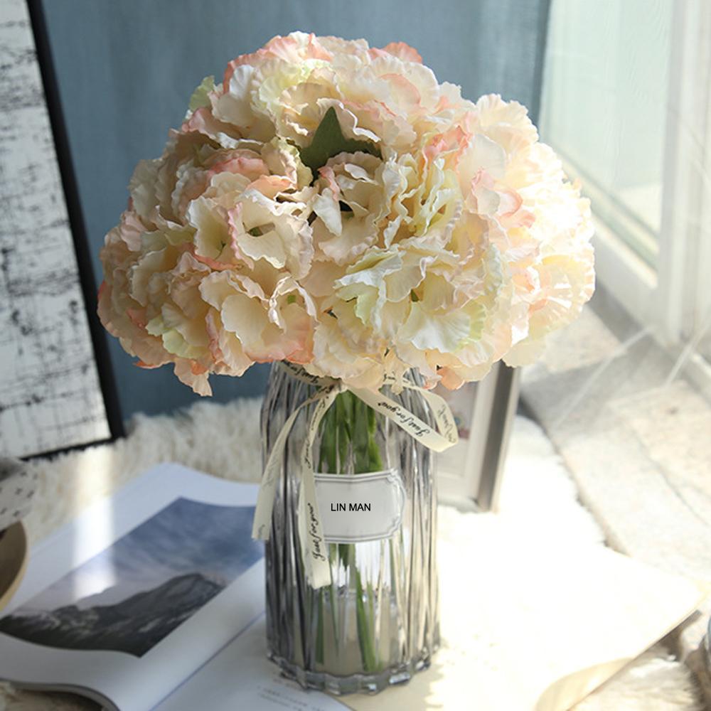 DHgate.com & LIN MAN Silk hydrangea Bride bouquet Artificial flowers wedding home new Year decoration accessories for vase flower arrangement