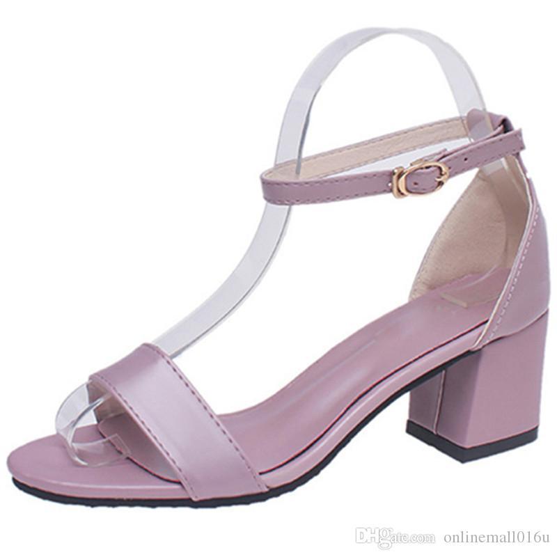 6e5a01b6cb5120 Acheter 2018 Top Qualité Pu Femmes Sandales Talon Carré Chaussures Grande  Taille 34 43 Boucle Mode Chaussures Doux Rose Chaussures Femme De $33.17 Du  ...