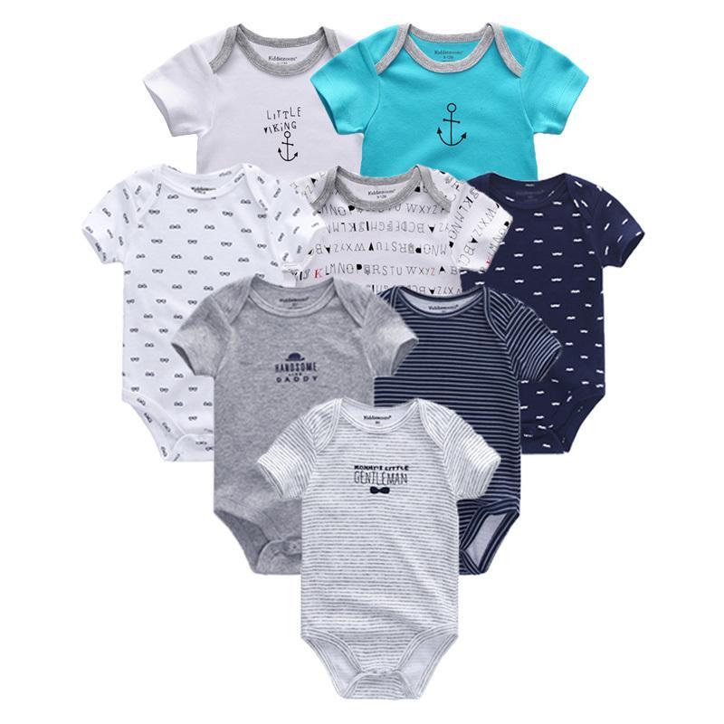 9893a039b912e 2018 8PCS/Lot Newborn Clothes 100%Cotton O-Neck 0-12M Baby Girls Boys  Jumpsuit Bodysuits Roupas de bebe Short Sleeve Clothing Y18102008