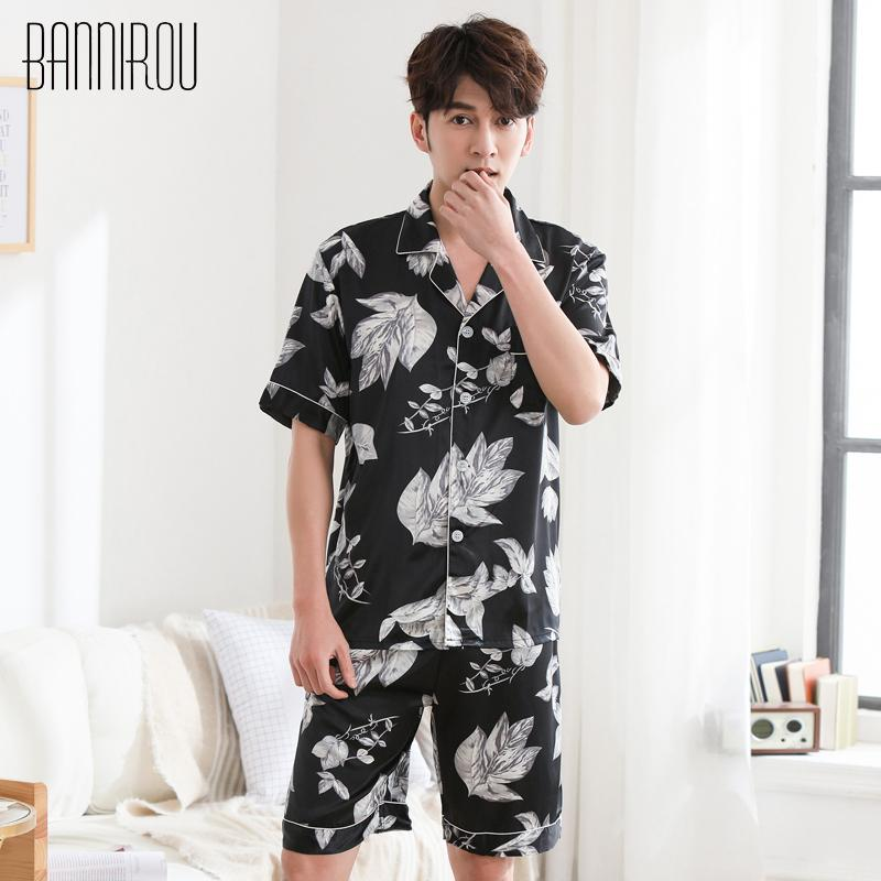 6b175ce46 2019 Man Pajamas Set Summer Short Button Print Leaves Simple Black Thin Fashion  Male Pyjamas Home Suit Sleep Wear For Man L XXXL 2018 From Bunnier, ...