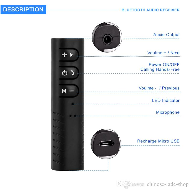 Clip-on Wireless AUX Bluetooth Receiver Car Headphone Speaker 3.5mm Bluetooth Audio Music adapter with Mic PP PACKAGE