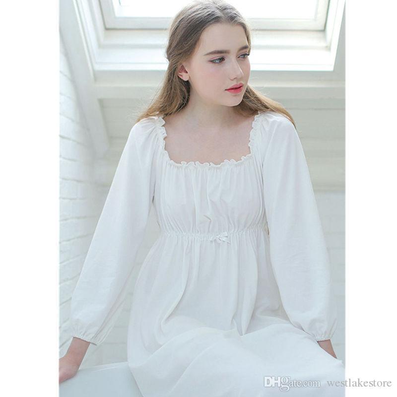 2dbe5bfa90 Vintage Night Dress Autumn Women Sleepwear White Cotton Homewear Square  Collar Sleepdress Long Sleeve Nightgown Sleepshirts Online with   58.29 Piece on ...