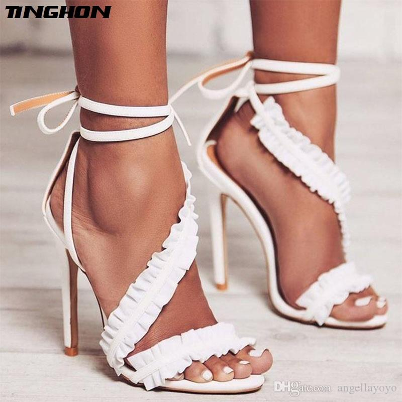 Gladiator Sandals Women High Heels Sexy Party Shoes Lace-Up Ruffles ... 6ca7cf9991a9