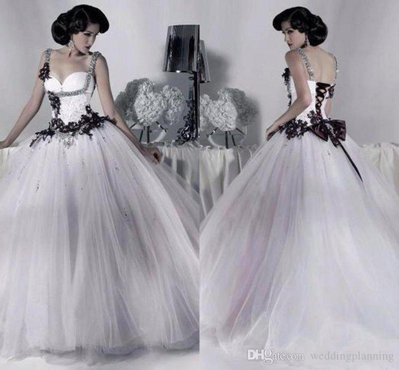 Vintage White and Black Tulle Wedding Dresses 2018 Beaded Spaghetti Strap Gothic Ball Gown Corset Halloween Bridal Party Gowns Vestidos Long