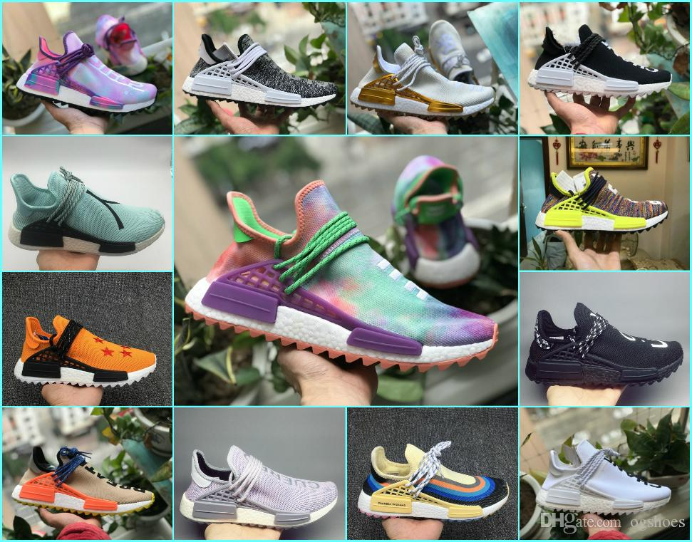 d0e002513fd97 2018 New Pharrell Williams Human Race NMD Running Shoes Black White Grey  Nmds Men Women Sports Primeknit PK Runner XR1 R1 R2 Sneakers Shoes Sports  Spikes ...