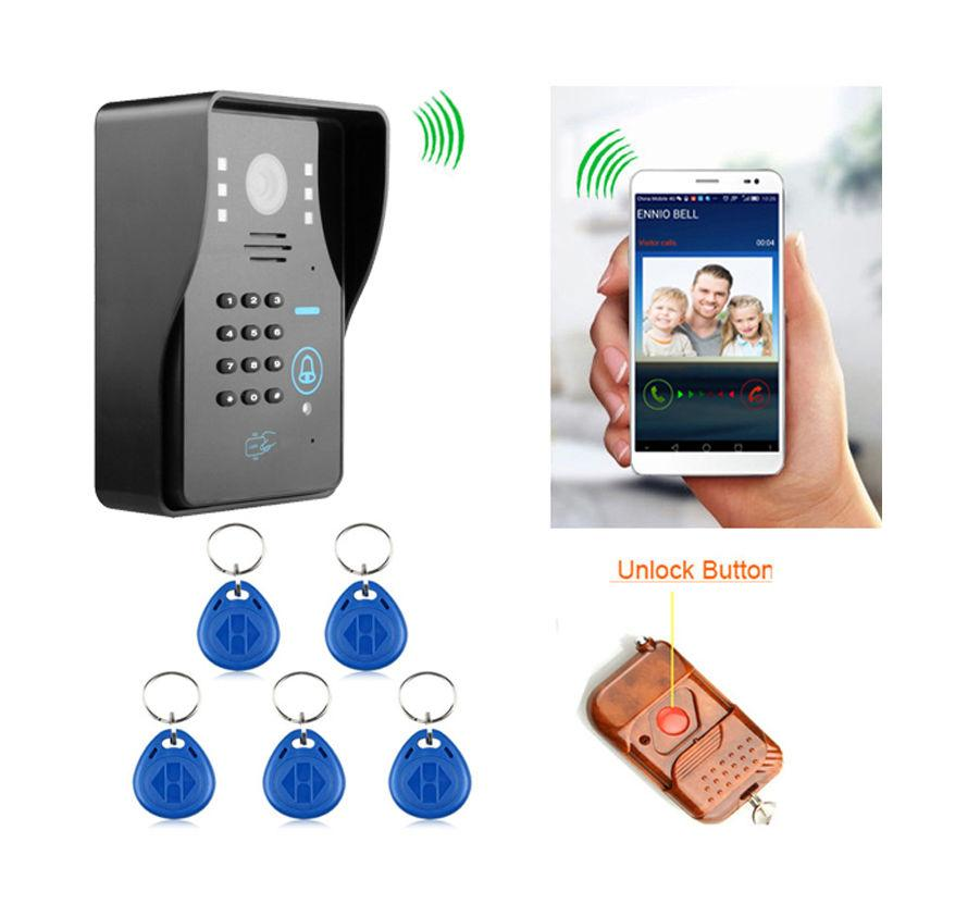 Wireless WIFI Video Door Phone Doorbell Intercom System support ID Card  Password Wireless remote Control unlock for IOS andriod Cellphone