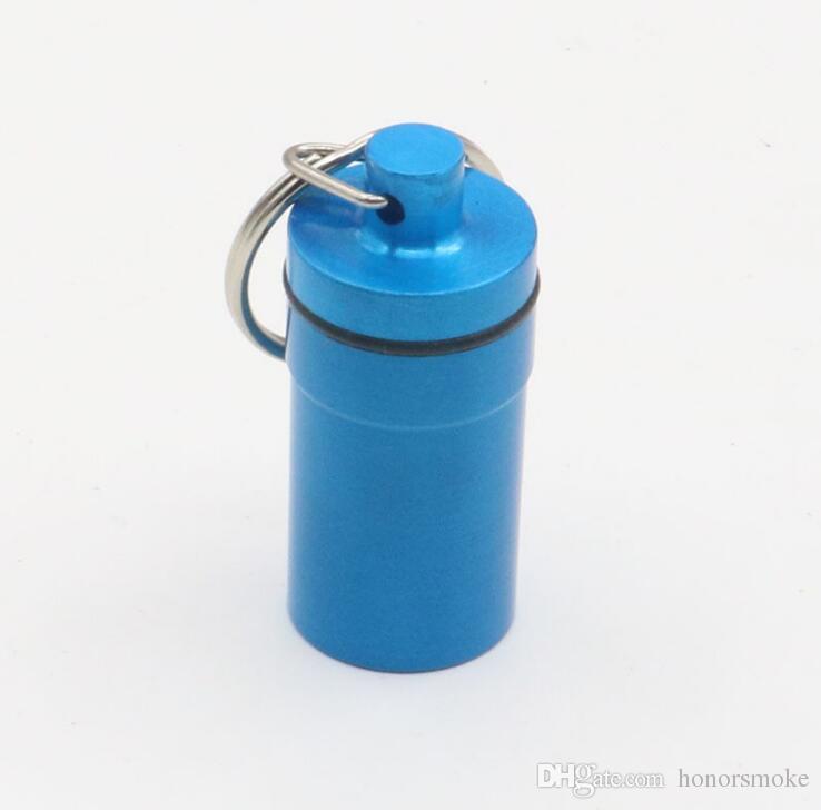 Aluminum Waterproof Pill Shaped Box Bottle Holder Container llaveros chaveiros Keychain Keyring Storage case stash big size