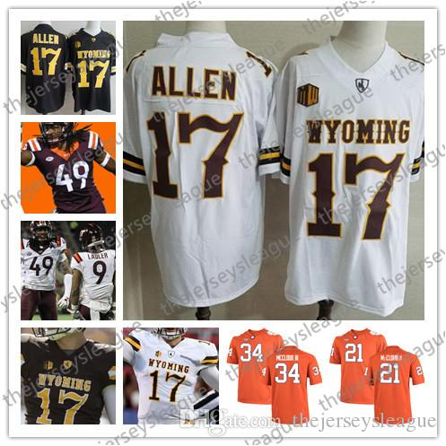 sports shoes b73ed 5635a NCAA Wyoming Cowboys 2018 #17 Josh Allen White Virginia Tech 49 Tremaine  Edmunds Red Blue Good Quality Stitched College Football Jerseys