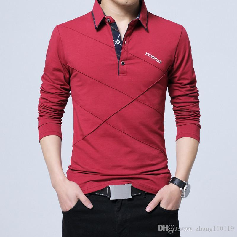 e15fb1faca219 Hot Sale T Shirt Men Long T Shirt Turn Down Stripe Designer T Shirt Slim  Fit Loose Casual Cotton T Shirt Male Plus Size Tee Shirts Mens T Shirts  From ...