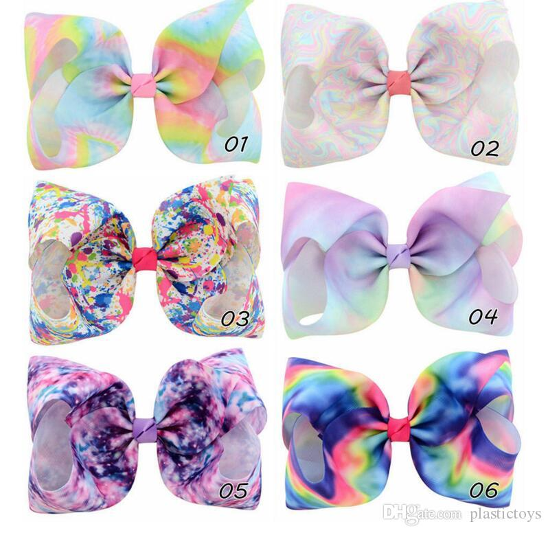 8 Inch Rhinestone Hair Bow Jojo Bows With Clip For School Baby Children Large Sequin Bow Unicorn Bow Mermaid 6 Style For valentines