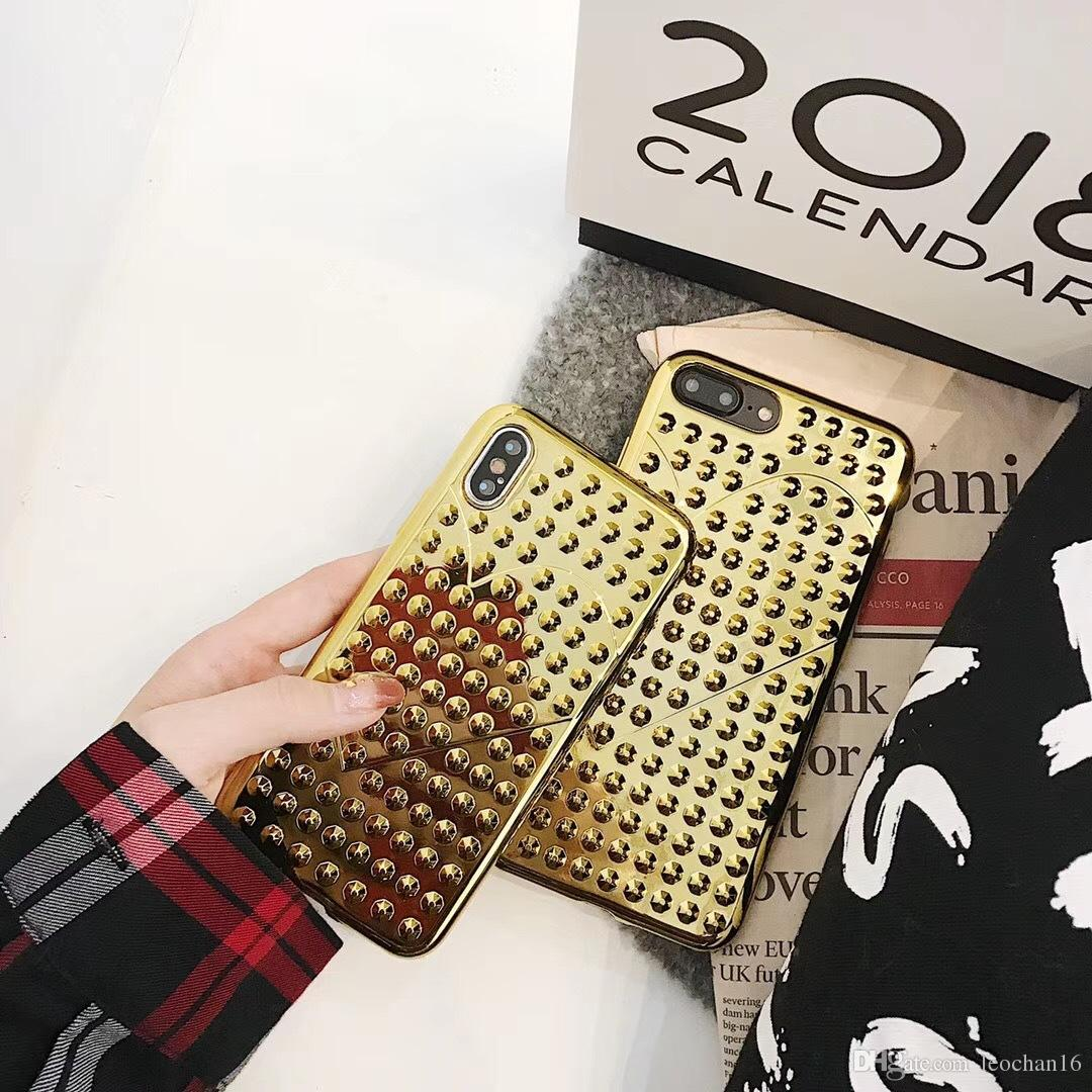 3D Diamond Bling Heart Back Cover Glitter Electroplated Phone Case Glossy Shell Electroplated Glacier Protector for iPhone X 6 7 8