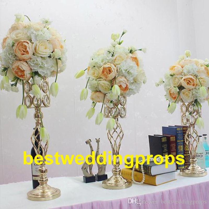 Wholesale Tall And Large Iron Crystal Plated Vase Metal One Flower