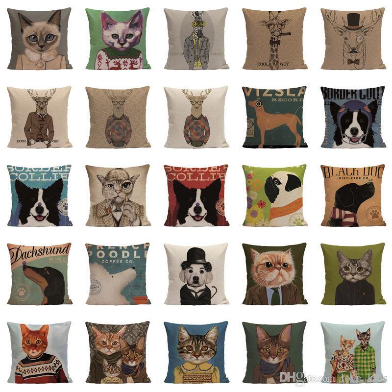 Funda de almohada cojines decorativos referencia animales gatos perros almohada funda 45x45cm