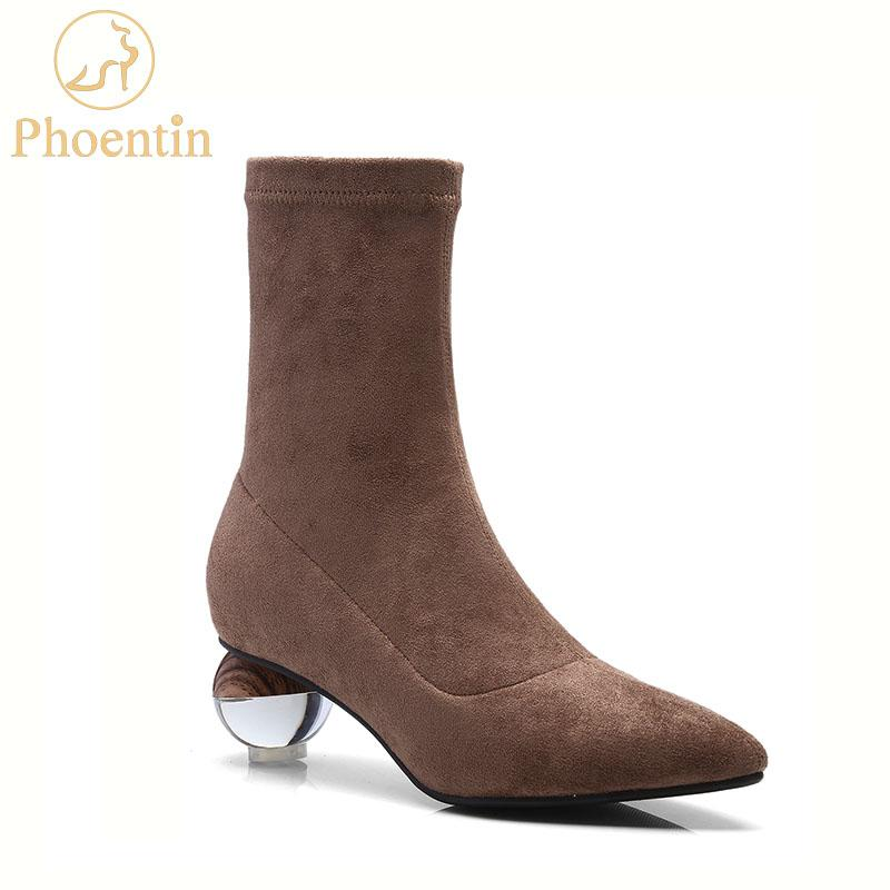 Phoentin Ball Heel Ladies Shoes 2018 Slip On Mid Calf Women Boots Black  Suede Stretch Fabric Boots Middle Heels Pointed FT547 Cheap Shoes Online  Shoes For ... dc471a8860be