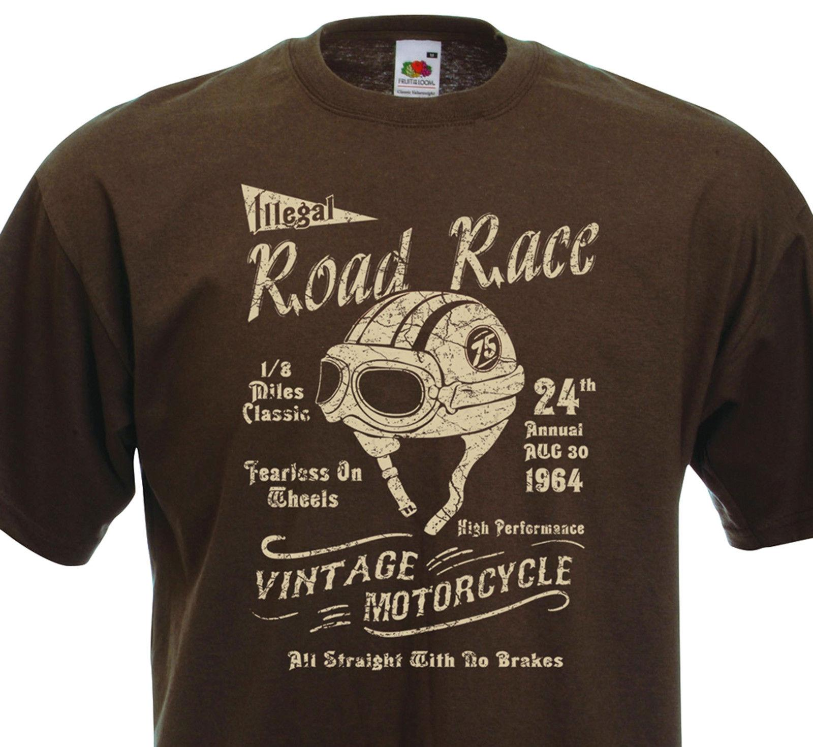 666903dc905 Details Zu T Shirt Illegal ROAD RACE Cafe Racer Racing Vintage Motorcycle  Triumph BSA Funny Unisex Casual Tee Top Free T Shirts T Shirts Deals From  ...