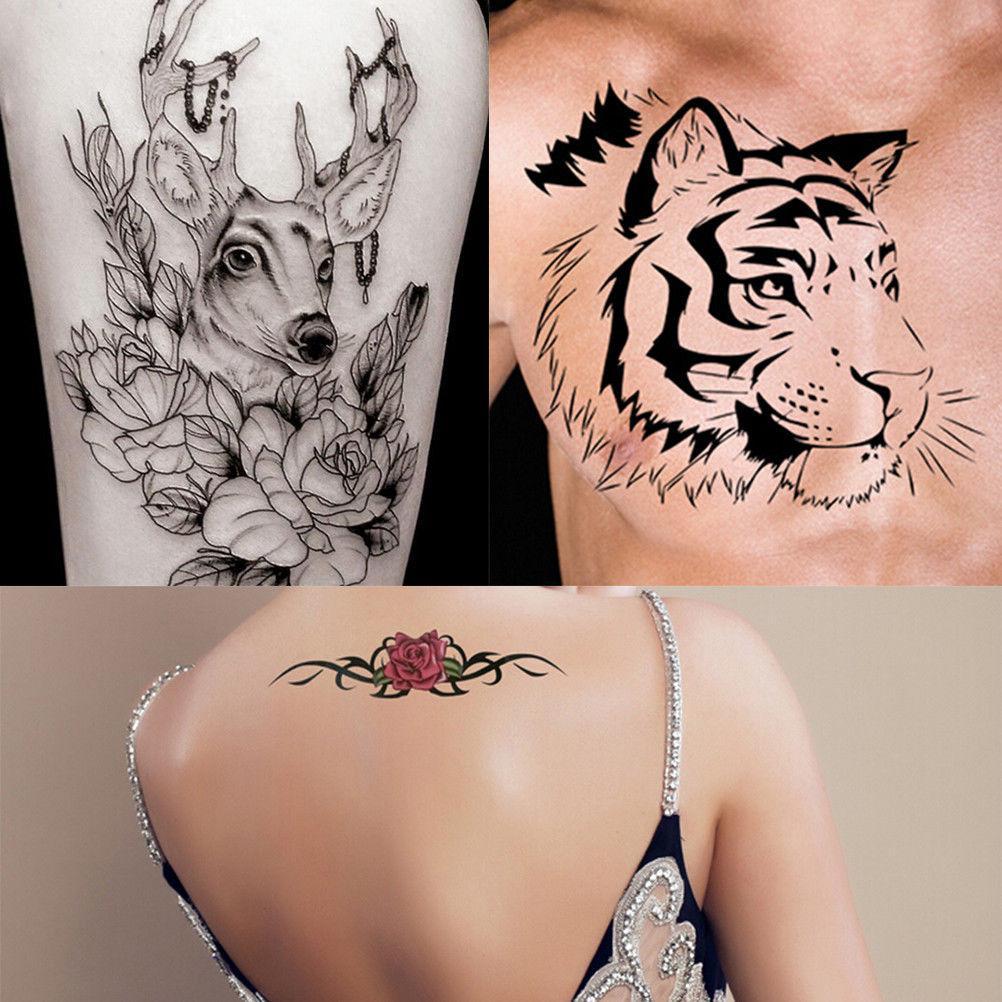 1 Hoja Pequeña Flor Corona Gato Dibujos Animados Tatuaje Stencil