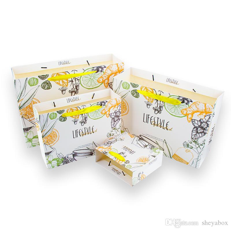 Floral Gift Bag Paper Jewellery Boutique Accessories Packaging Bags with Ribbon Band Handle Pretty Sweet Retail Store Fashion Paper Handbags