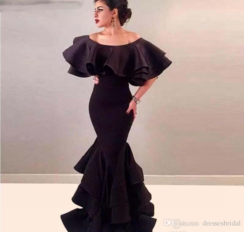 Compre Vestidos De Noche De Falda Con Gradas De Sirena Larga Árabe Robe De  Soiree Vestidos De Fiesta De Baile Sexy De Satén Negro 2018 Abendkleider  Barato A ... 3a8c90094e2b