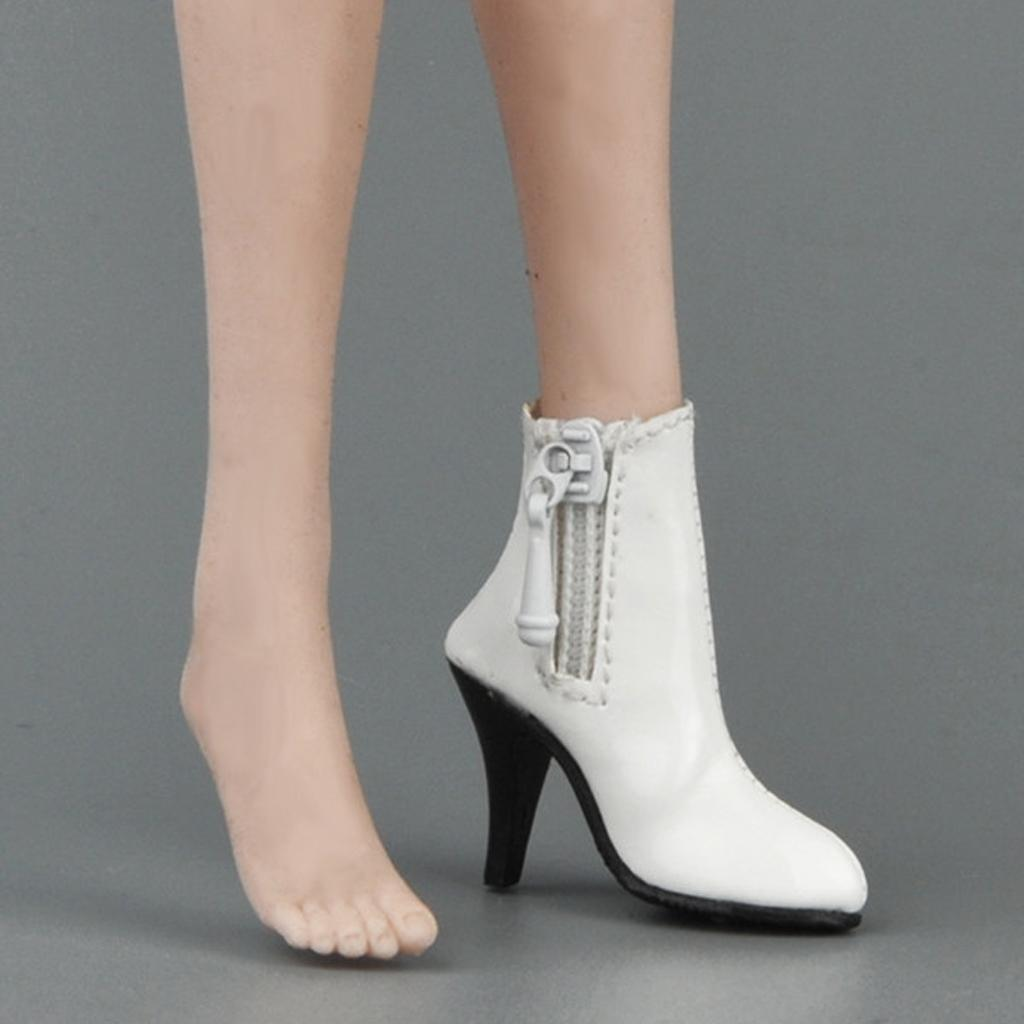 1/6 Scale PU Leather Female High Heels Ankle Boots Shoes for 12'' Action Figure Dolls Outfit Dollfle Dress Up Dolls Accessory