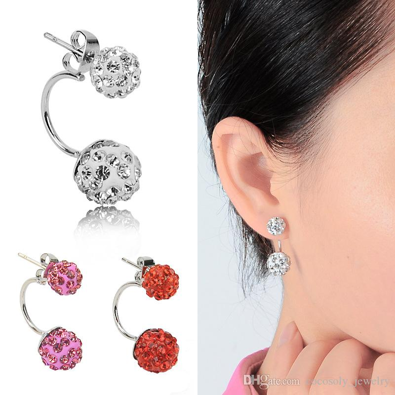 Double sided Sh-am-ba-la Ball Stud Earrings Diamond Crystal disco beads Earings 925 Silver plated F-i-n-e Jewelry for women girls