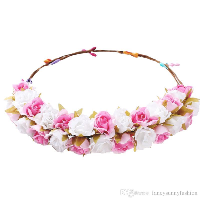 bohemian rose headband garland crown festival wedding bride bridesmaid hair wreath BOHO floral headdress headpiece flowers crown photo props