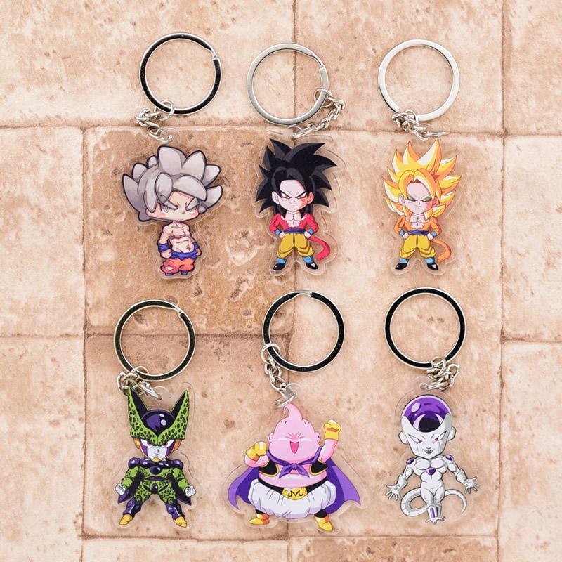 2018 GT Keychain Goku Cell Frieza Double Sided Acrylic Key Chain Pendant  Anime Accessories Cartoon Key Ring DBS1P
