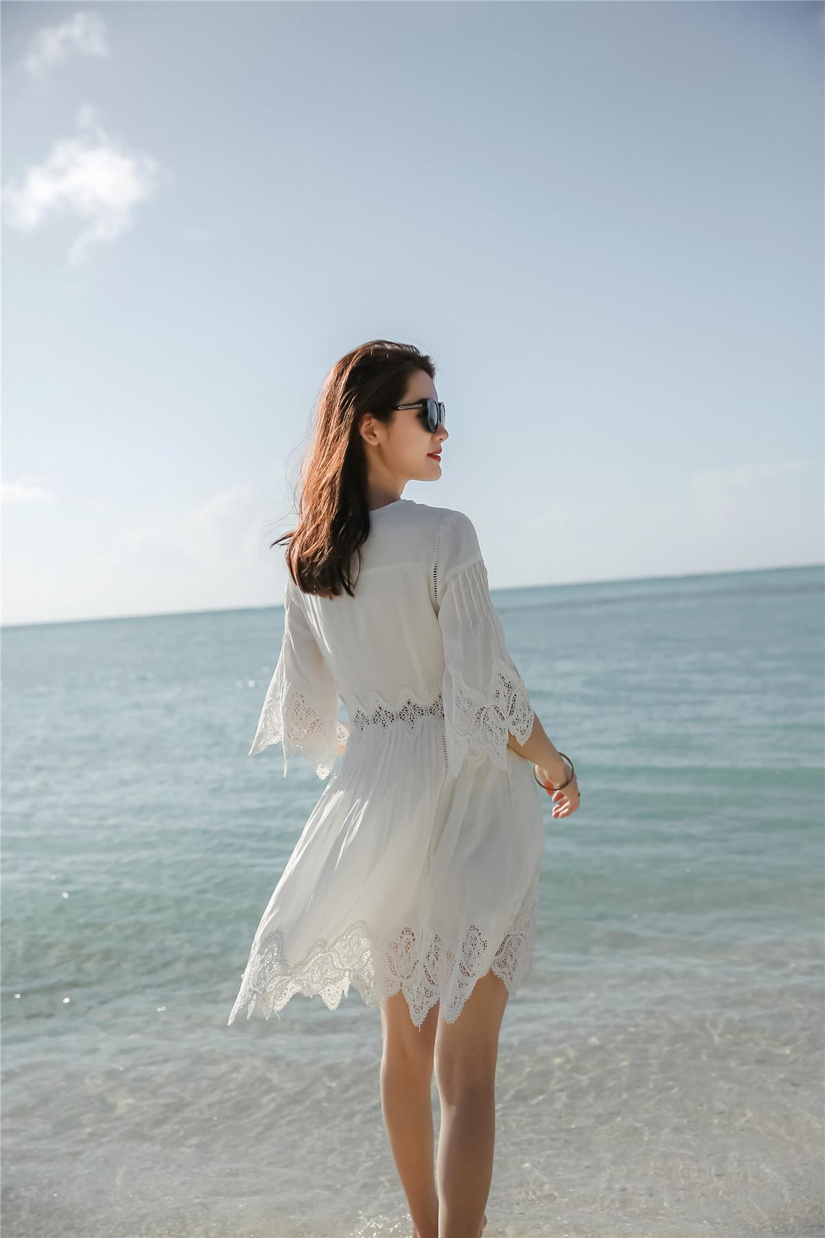 New Summer Casual Lace White Dresses Embroidery V-neck Flare Sleeve Hollow Out Fairy Beach Dress Holiday