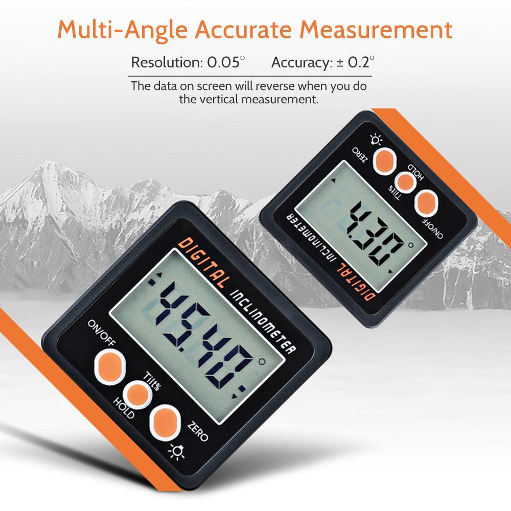 Mini Digital Inclinometer Electronic Protractor Magnets Base 360 Degree Digital Aluminum Alloy Shell Bevel Box Angle Gauge Meter