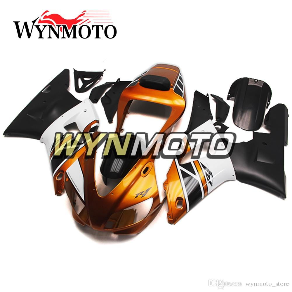 Full Fairings For YZF1000 R1 1998-1999 98 99 Injection ABS Plastics Body Frames Gold White Black Cowlings Motorbike Hulls YZF R1 98 99 Frame