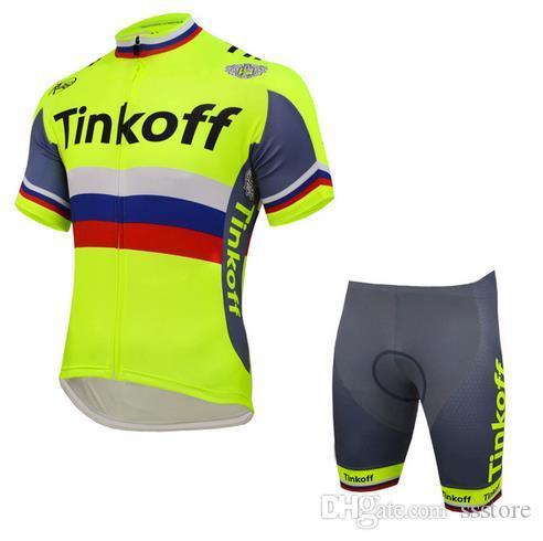 2018 New Tinkoff Saxo Cycling Jerseys Set Short Sleeve With Padded ... 5ed20e22e