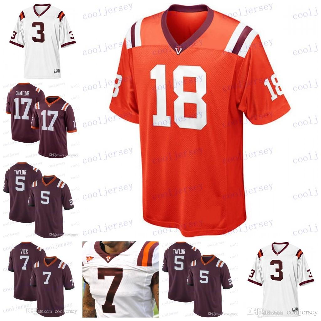 7d92edfb154 Custom Virginia Tech Hokies 7 Michael Vick 17 Kam Chancellor 5 Tyrod ...