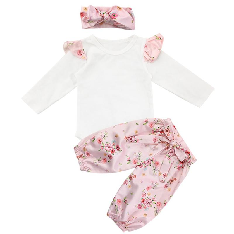 c25762671fd5 3Pcs/Set Newborn Baby Boy Girl Clothes Cotton Pink Floral Print Long Sleeves  Romper Suit + Floral trousers+Headband Baby Suit