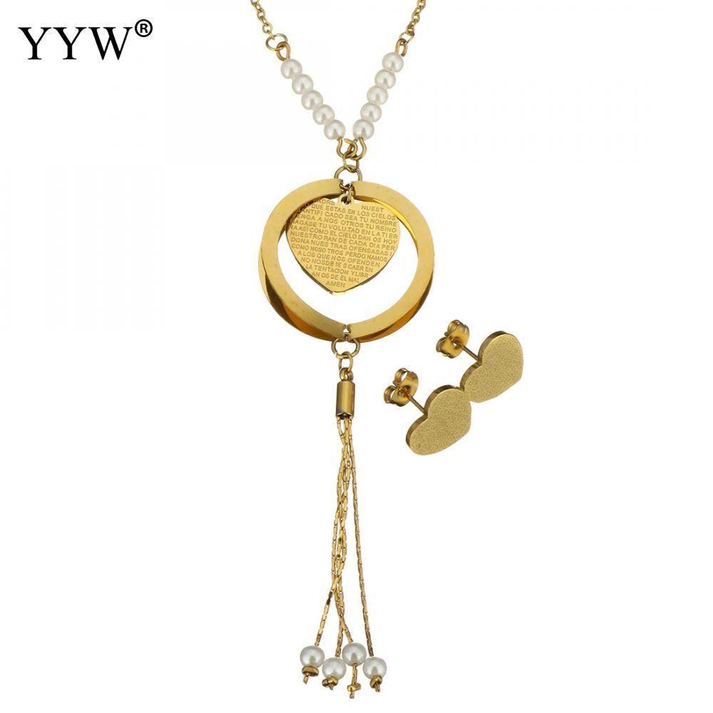 fd127e761ed6 Compre Conjuntos De Joyería De Acero Inoxidable Pendiente Collar Largo Con  Corazón De Perlas De Cristal Cadena Oval De Color Oro Con Patrón De Carta  Para ...