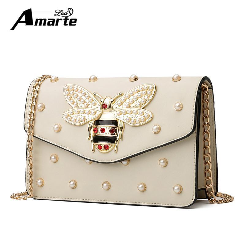 d21bfe982f6d Fashion Design Bee Metal Pearl Pu Leather Chain Ladies Shoulder Bag Handbag  Flap Female Crossbody Messenger Bag Bolsa Female Leather Bag Ladies  Shoulder Bag ...