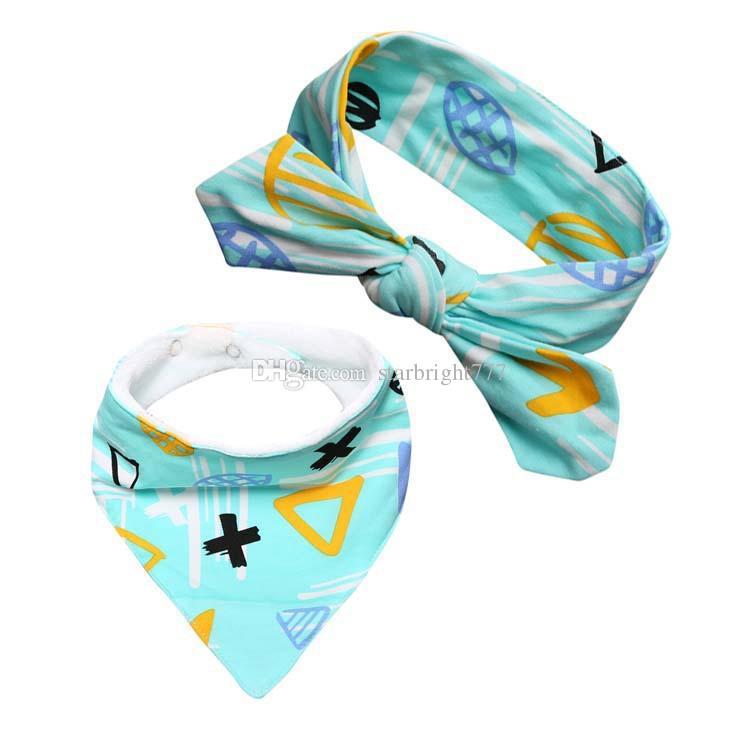 INS hot Set/baby infant triangle Bandana bibs cartoon bibs burp cloths Pure cotton double layer bibs bandana scarf with Headbands