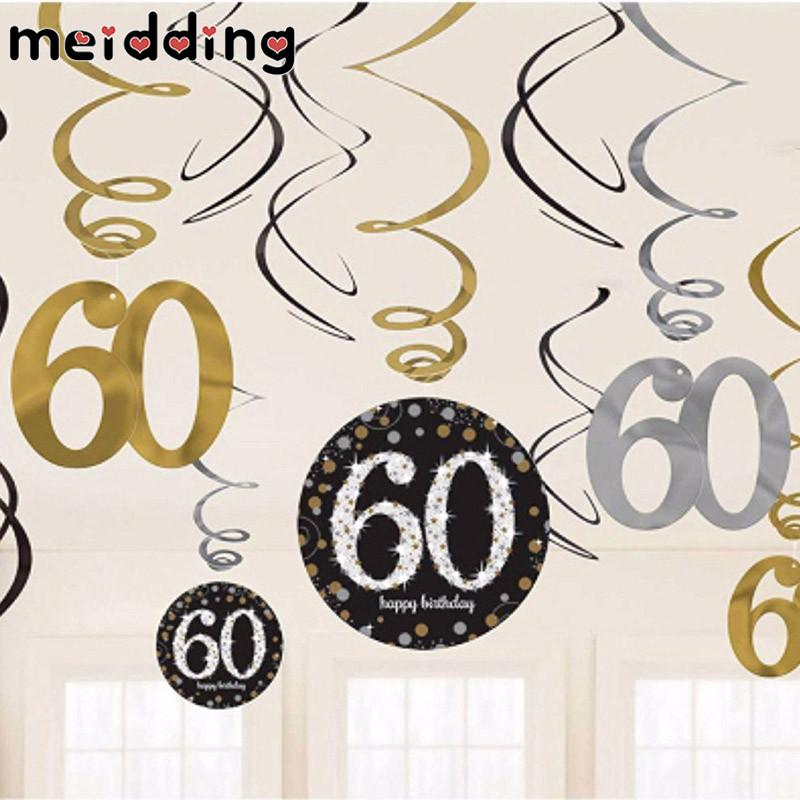 MEIDDING 30/40/50/60 Years PVC Spiral Ornaments Anniversary Birthday Party Decorations Hanging Pendent Banners