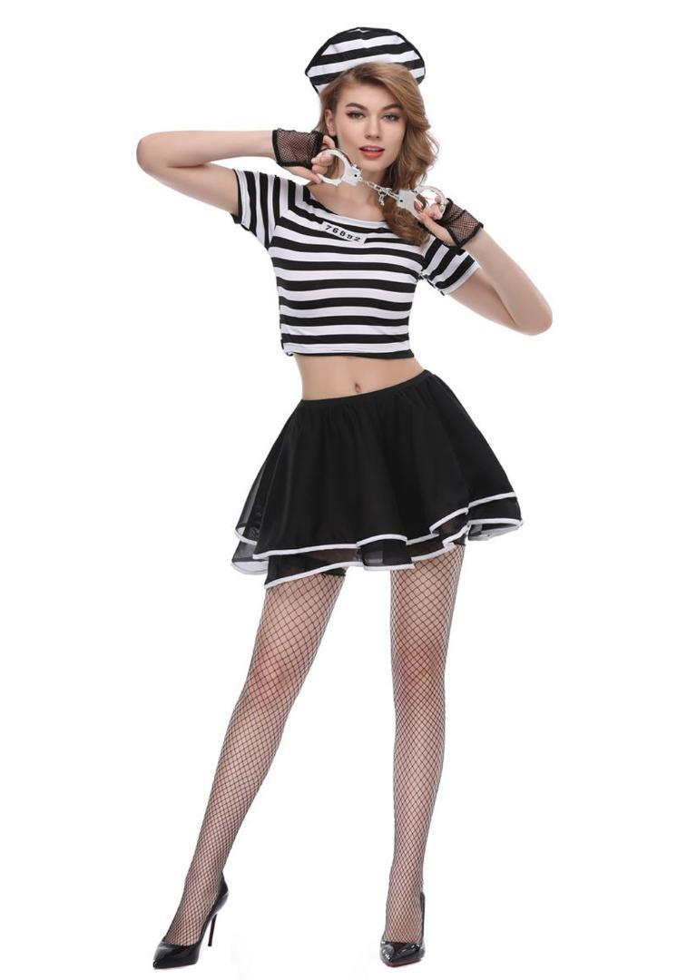 edfde2ce6 Compre Fantasias De Halloween Carnaval Traje Prisioneiro Sexy Zippered  Vestido Listras Roupas Conjunto Para As Mulheres De Vikey06