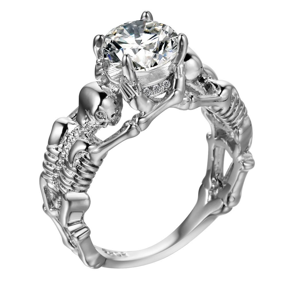 7cf7c2dbcac6c UFOORO Ghost evil Skull skeleton Hand CZ Ring European and American Punk  style Motor Biker Men Ring 2017 new skull men's jewelry