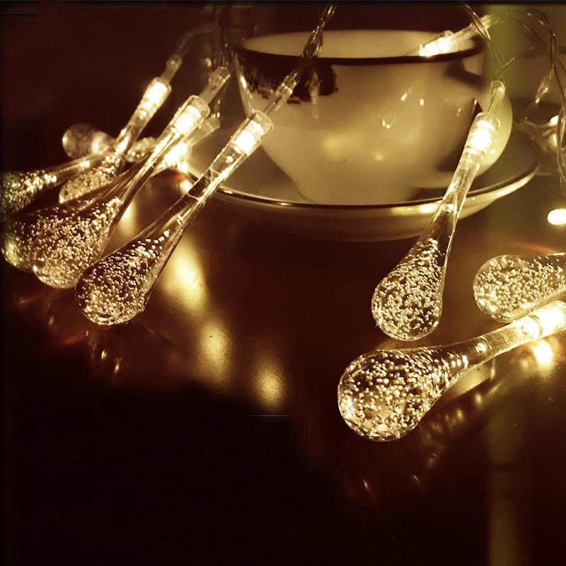 Weihnachtsbeleuchtung Tropfen.20 Led 4 Farbe String Lichterkette Solar Weihnachtsbeleuchtung Lichterketten Hochzeit Tropfen Led String Weihnachtsschmuck Für Zuhause Y18102609