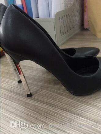 2018 women high heels Gold Nude Black Rose patent leather Pumps 12CM metal heel dress shoes pointed toe