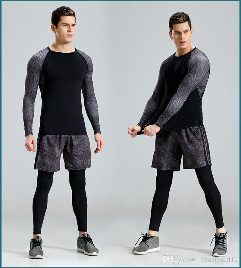 2017 New Running Set Men Snake Quick Dry Mens Sport Suit Fitness Tight Gym Clothing Training Suit Workout Men's Sportswear