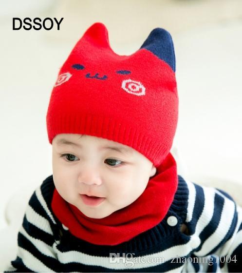 16ed5e9db12 Designer Kids Meow Winter Hat Children Bonnet Girl Boy Knit Beanies ...